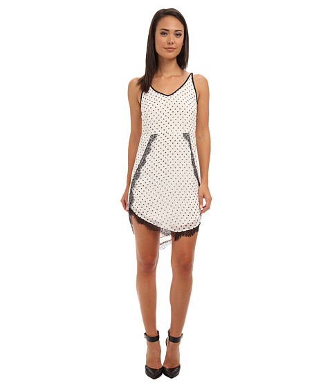 BCBGeneration - Lace Trim Dress DPG60C57 (Whisper White Combo) Women's Dress