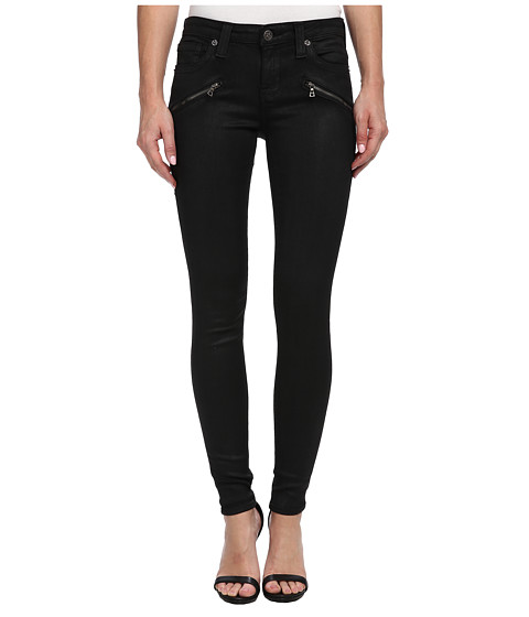 Big Star - Alex Skinny Jean with Front Zippers in Coated Black (Coated Black) Women