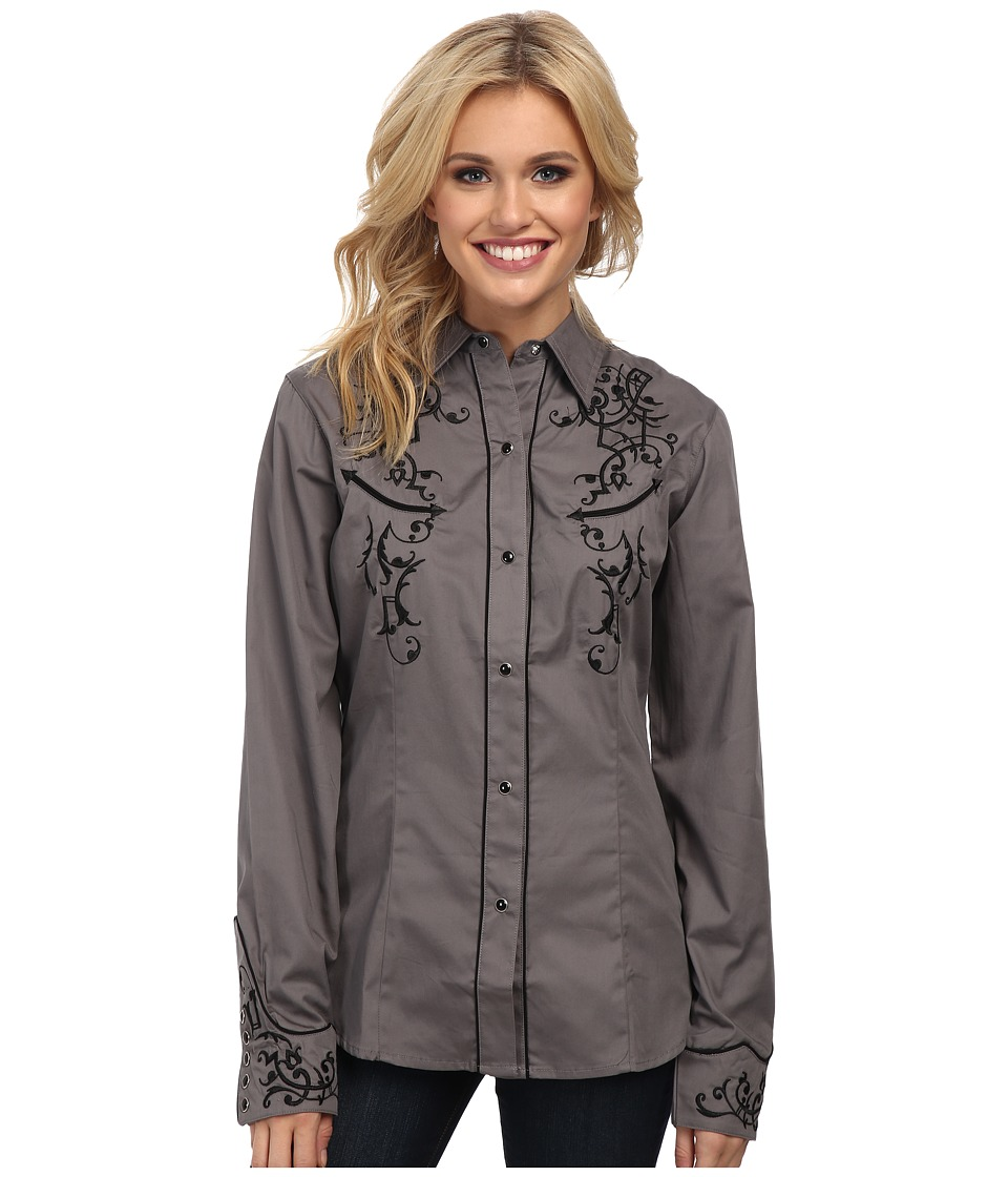 Roper - Old West Bracket Embroidery (Grey) Women's Long Sleeve Button Up