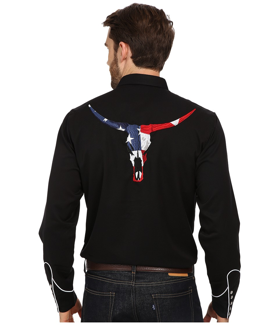 Roper - L/S Vintage Patriotic Skull (Black) Men's Long Sleeve Button Up