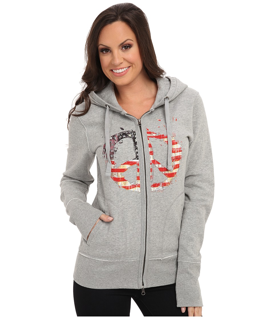 Roper - Distressed Patriotic Peace Sign Hoodie (Grey) Women