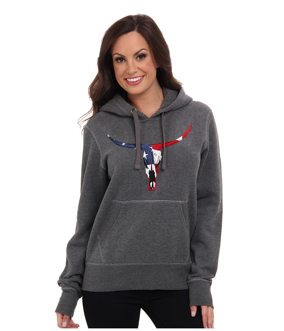 Roper - Embroidered Skull Patriotic Hoodie (Grey) Women's Sweatshirt