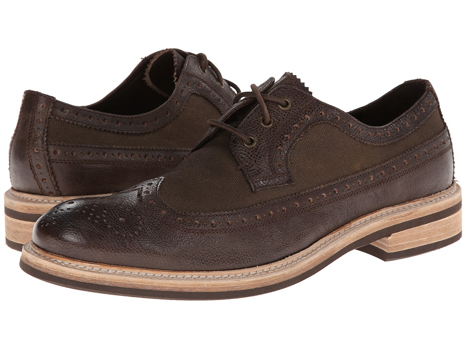 John Varvatos - Strummer Eva Wingtip (Distressed Brown) Men's Lace Up Wing Tip Shoes