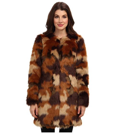 MICHAEL Michael Kors - Faux Fur Coat (Caramel) Women's Coat