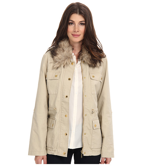 MICHAEL Michael Kors - Fur Collar Anorak Jacket (Khaki) Women's Clothing
