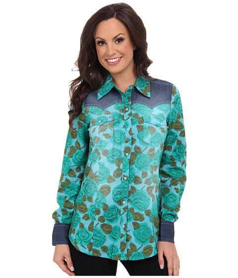 Roper - 9385 Emerald Floral Print Shirt (Green) Women's Long Sleeve Button Up