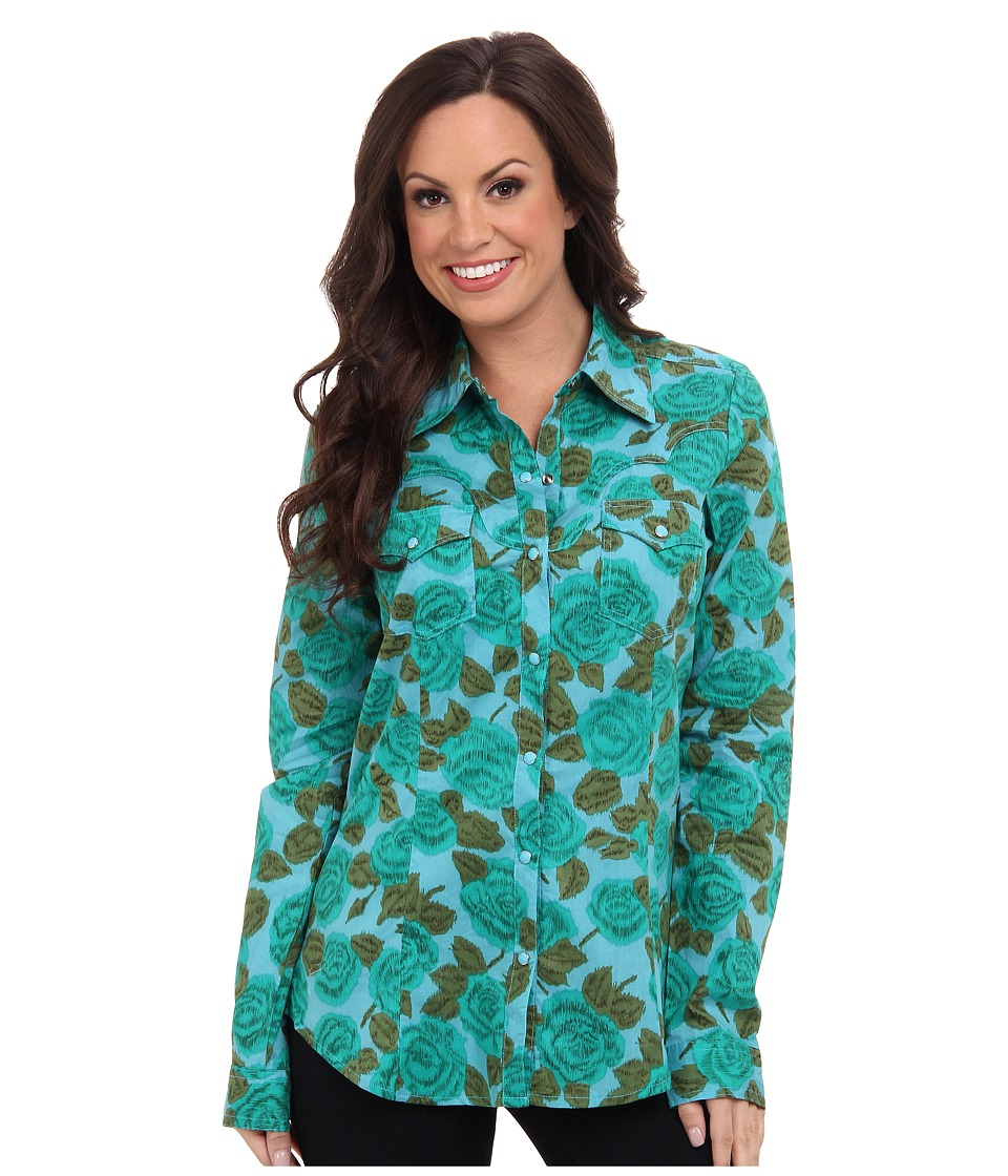Roper - 9385 Emerald Floral Print Shirt (Green) Women