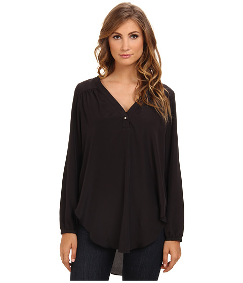 BCBGeneration - L/S V-Neck Tunic Top KUD1S912 (Black) Women's Blouse