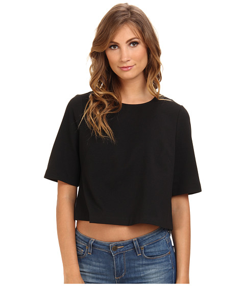 BCBGeneration - S/S Round Neck Top XGN1T037 (Black) Women's Clothing