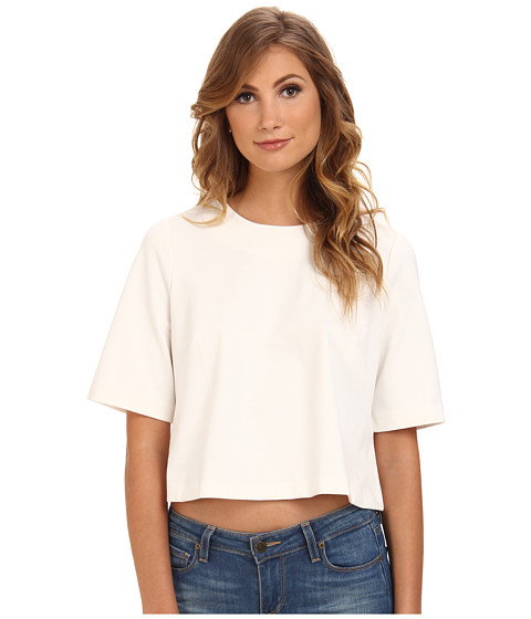 BCBGeneration - S/S Round Neck Top XGN1T037 (Whisper White) Women's Clothing