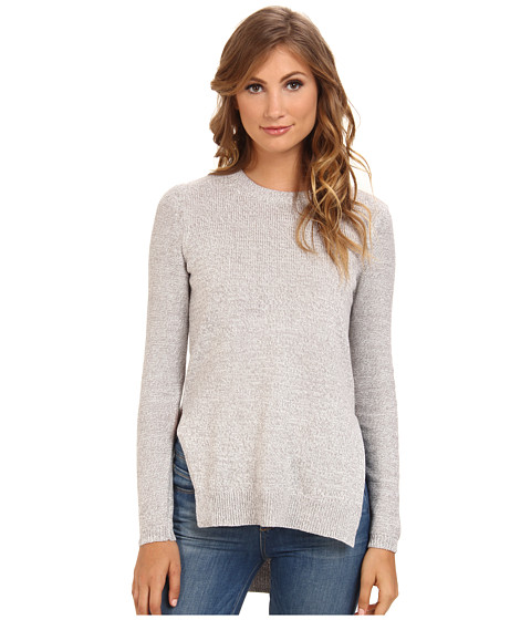 BCBGeneration - L/S Round Neck Hi Lo Sweater Top GFQ1T006 (Marled Silver) Women