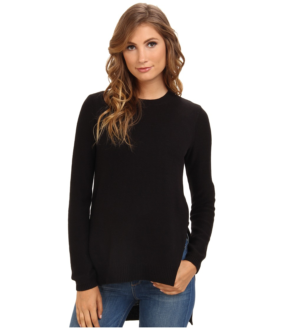 BCBGeneration - L/S Round Neck Hi Lo Sweater Top GFQ1T006 (Black) Women's Sweater