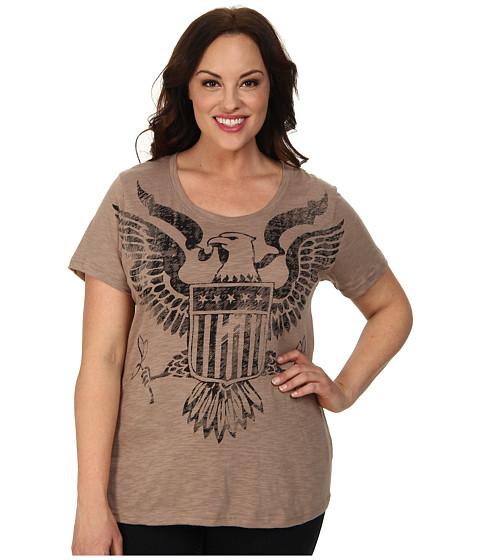 Roper - Plus Size 9379 Cotton Poly Slub Jersey Tee (Brown) Women