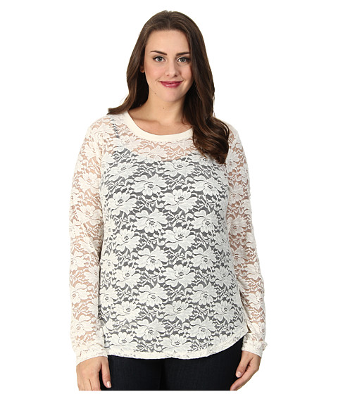 Roper - Plus Size 9390 Allover Stretch Lace L/S Tee (White) Women's Long Sleeve Pullover