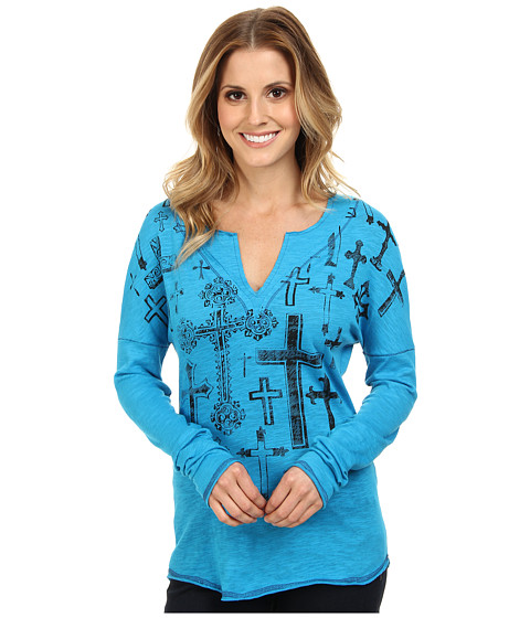 Roper - 9379 Cotton Poly Jersey Tee (Blue) Women