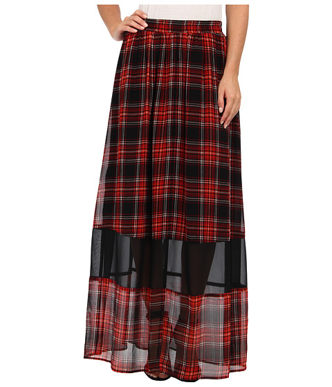 BCBGeneration - Plaid Maxi Skirt VSU3F059 (Bright Red Multi) Women's Skirt