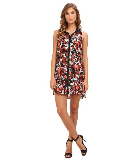 BCBGeneration - Sleeveless Button Front Shirt Casual Dress QQG66B56 (Blue Lagoon Multi) Women's Dress
