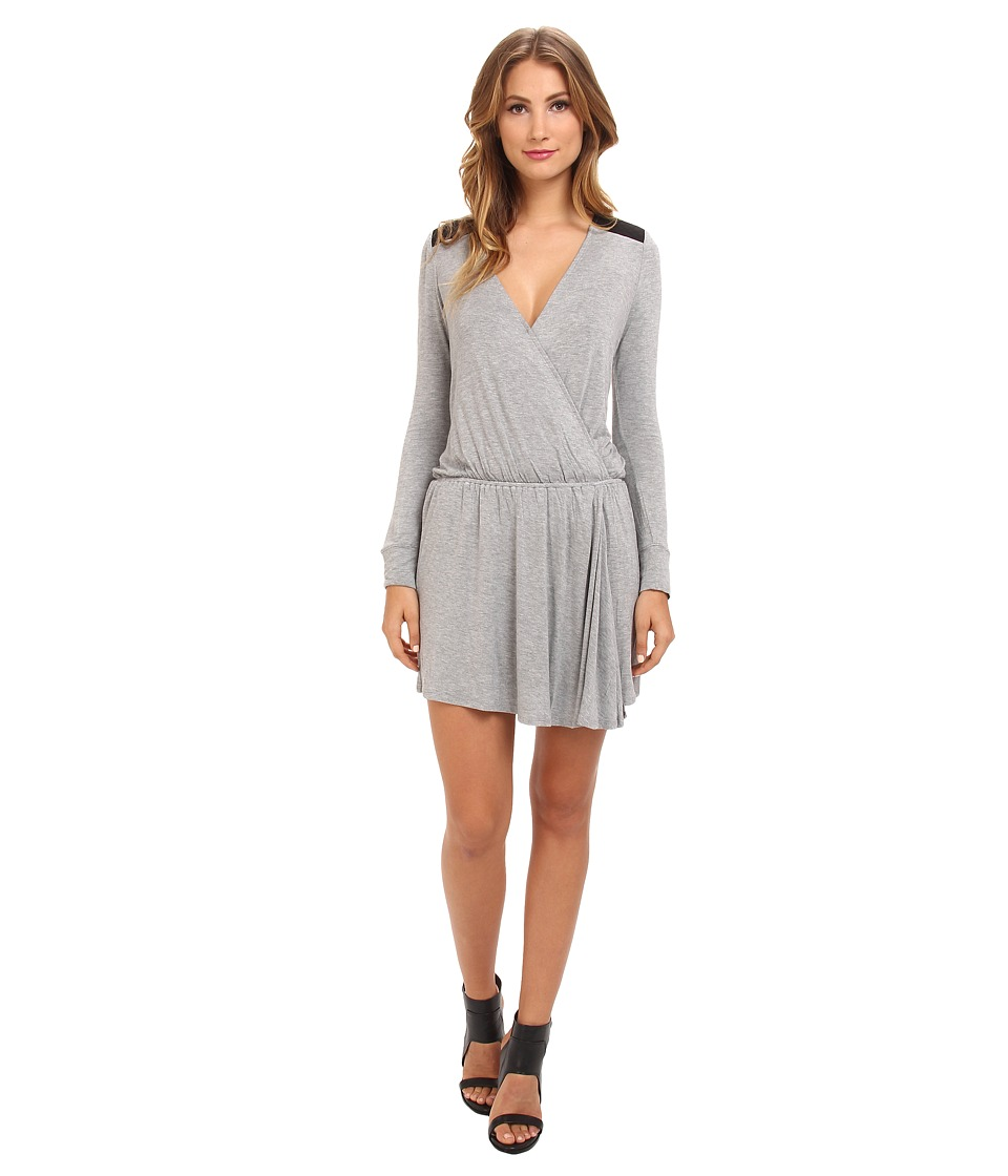 BCBGeneration - L/S V-Neck Shirt Casual Dress ONN68B11 (Heather Grey) Women