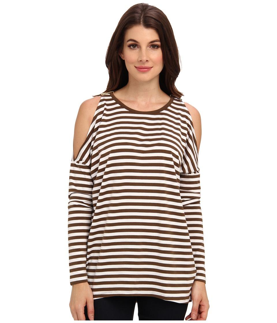 MICHAEL Michael Kors - L/S Stripe Cold Shoulder Top (Duffle/White) Women's Clothing