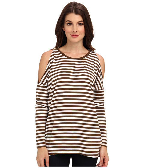 MICHAEL Michael Kors - L/S Stripe Cold Shoulder Top (Duffle/White) Women's Clothing