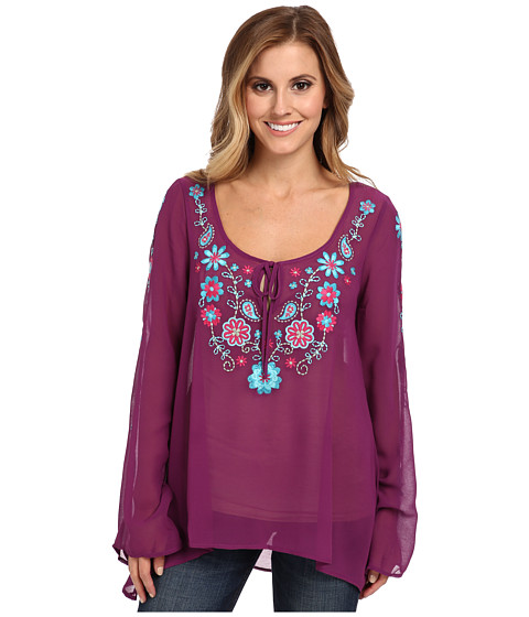 Roper - 9391 Solid Georgette Blouse (Purple) Women's Blouse