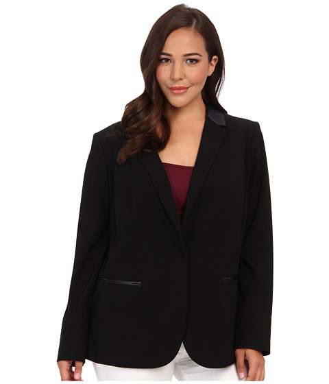 DKNYC - Plus Suiting L/S Faux Leather Peak Lapel Blazer (Black) Women