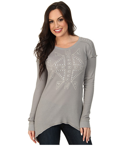Roper - 9381 Lt. Wt. Thermal Knit Topess (Grey) Women's Clothing