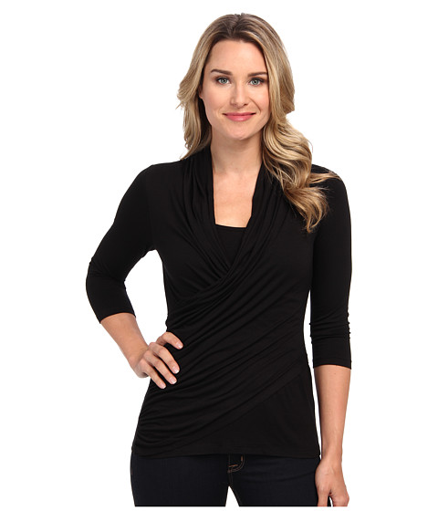 Karen Kane - 3/4 Sleeve Wrap Top (Black 1) Women's Clothing