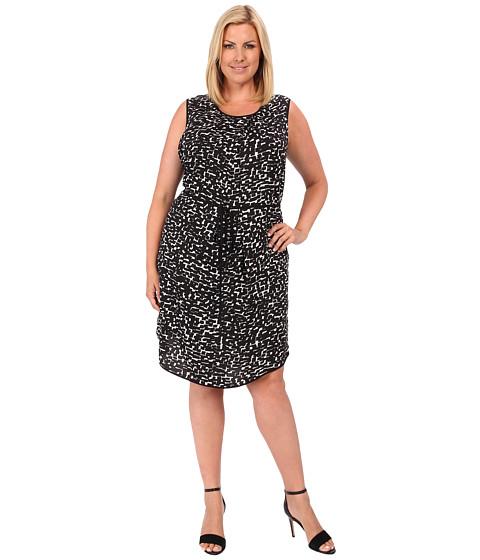 DKNYC - Plus Size Painted Tiles Lightweight Sleeveless Pleat Front Dress w/ Solid Binding/Belt (Black) Women