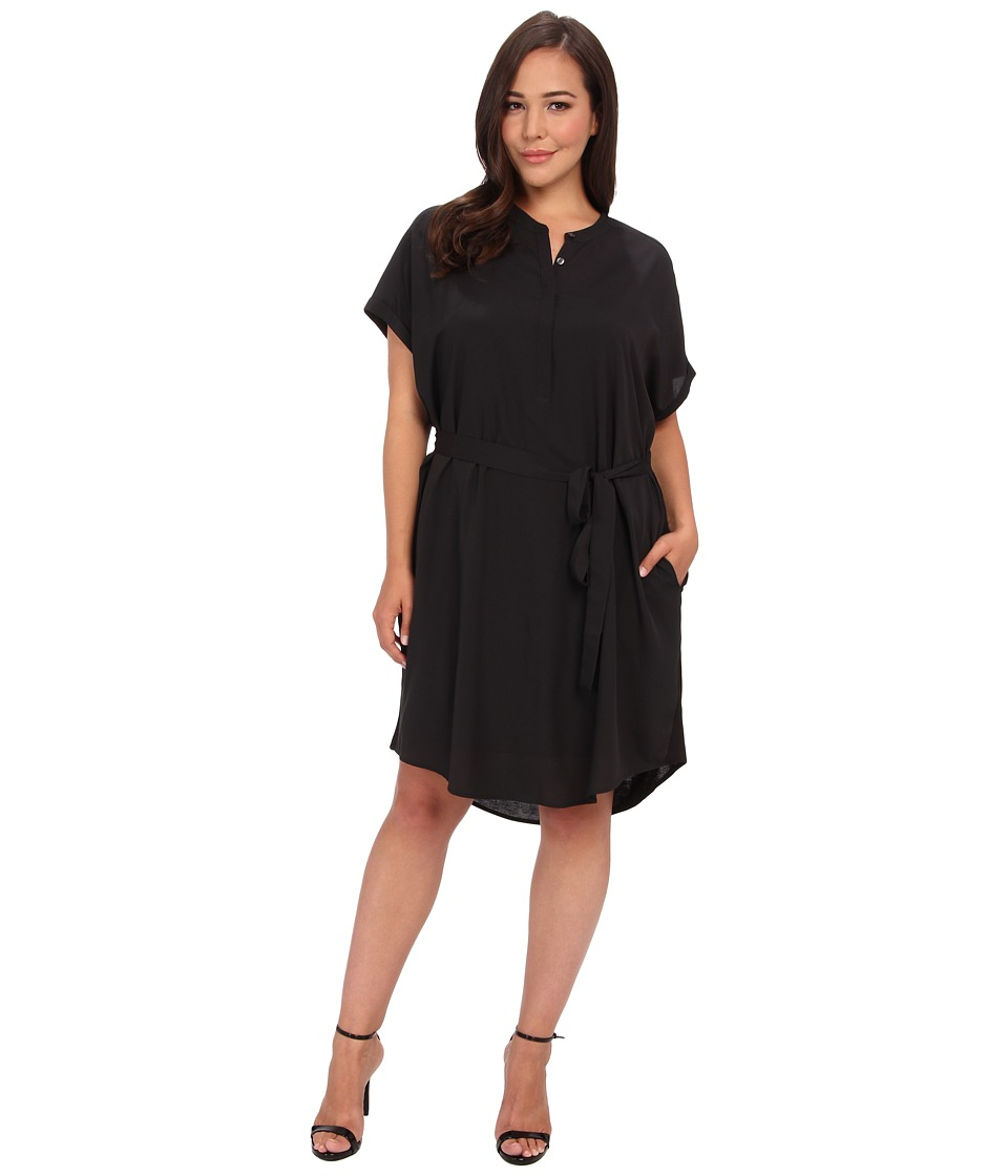 DKNYC - Plus Size Crepe Chine Rolled S/S Half Placket Dress w/ Self Belt/Knit Back (Black) Women's Dress