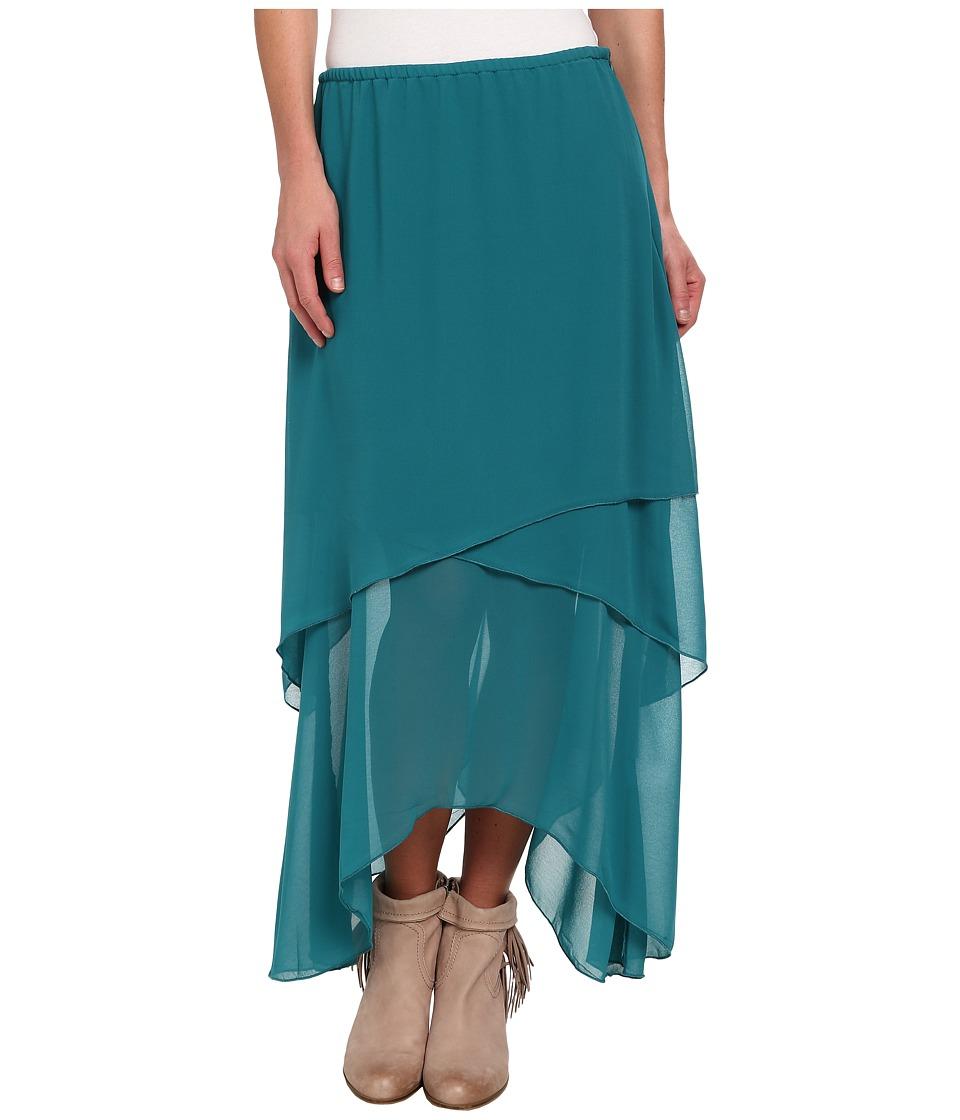 Roper - 9391 Layered Georgette Skirt (Green) Women's Skirt