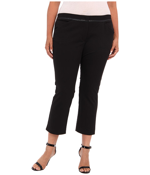 DKNYC - Plus Size Polished Stretch Twi Straight Pant w/ Faux Leather Trim (Black) Women
