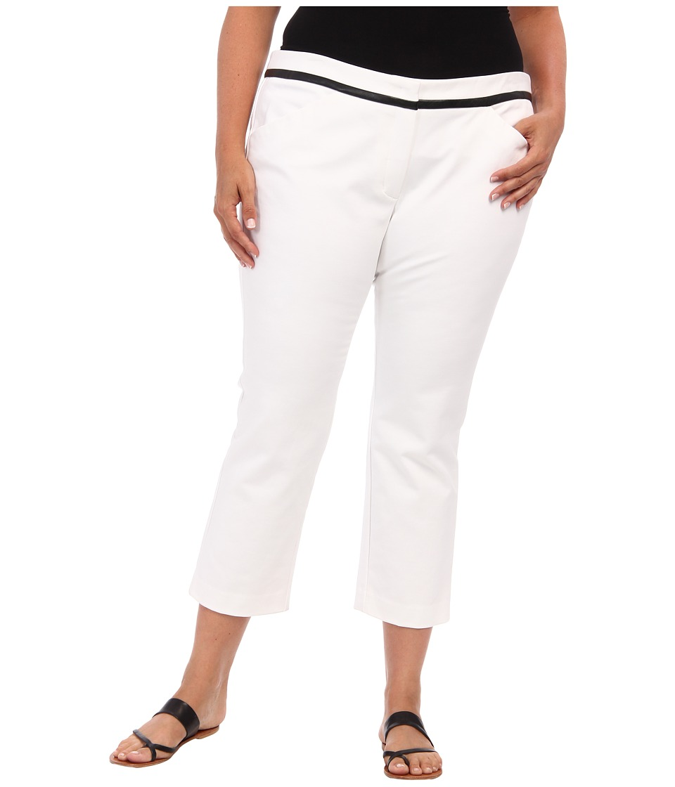 DKNYC - Plus Size Polished Stretch Twi Straight Pant w/ Faux Leather Trim (White) Women's Casual Pants