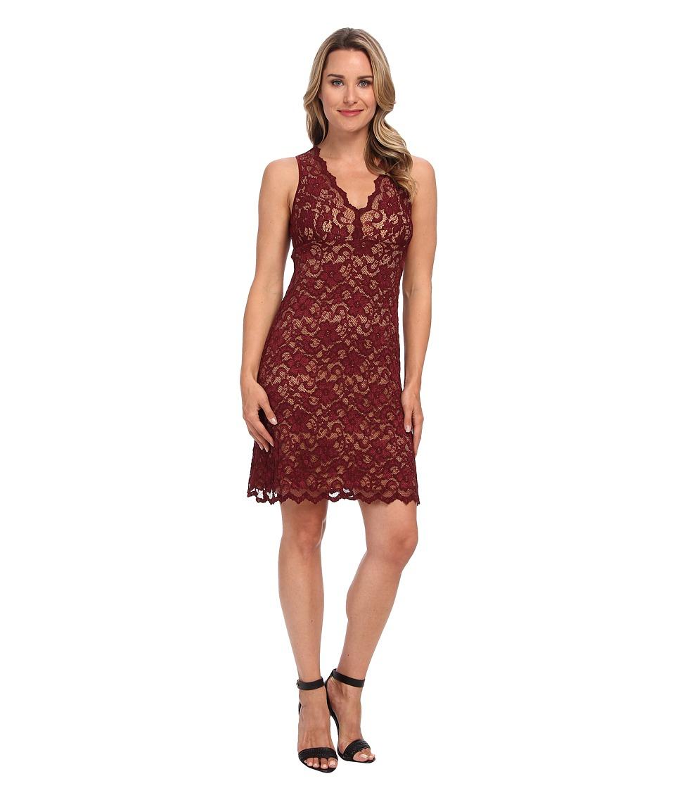 Karen Kane - V-Neck Sleeveless Lace Dress (Mahogany) Women