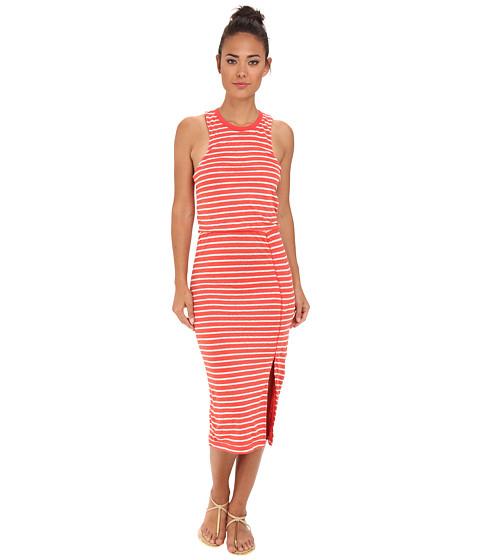Dolce Vita - Calico Linen Stripe - Thin Stripe Mid Maxi (Coral/Cream) Women's Dress