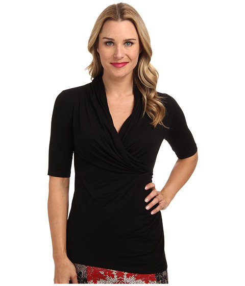 Karen Kane - Elbow Sleeve Wrap Top (Black 2) Women's Clothing