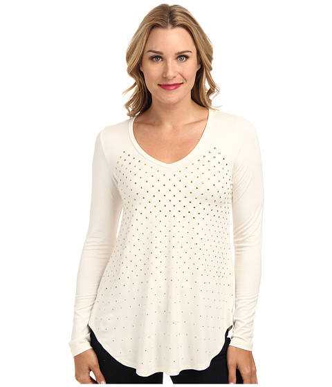 Karen Kane - Studded Long Sleeve Top (Cream) Women's T Shirt