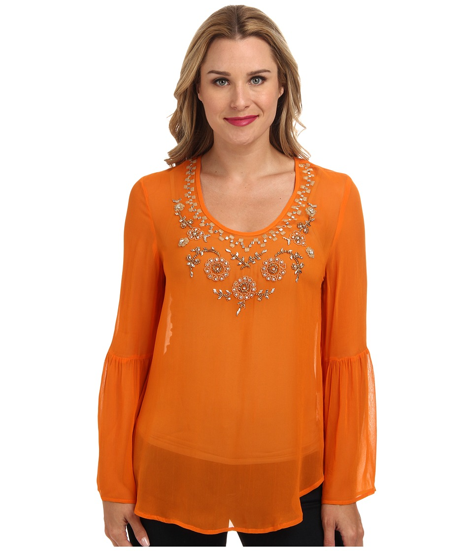 Karen Kane - Flare Sleeve Embroidered Beaded Top (Bog) Women's Blouse