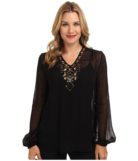 Karen Kane - Beaded V-Neck Blouson Sleeve Top (Black) Women's Blouse