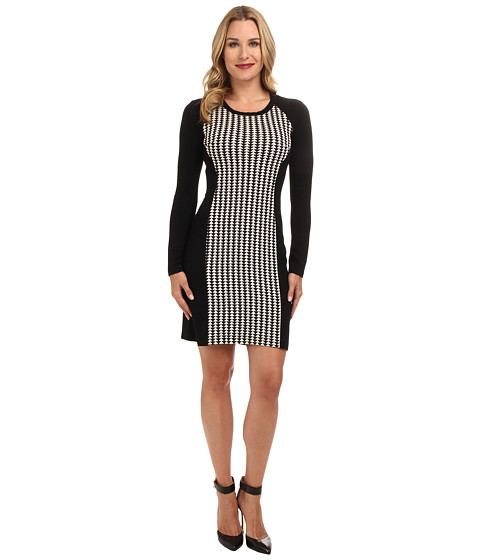 Karen Kane - Arrowhead Jacquard Dress (Black/Cream) Women