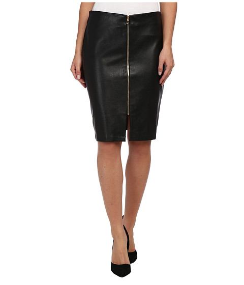 Karen Kane - Vegan Leather Zip Skirt (Black) Women's Skirt