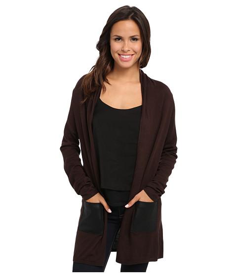 Karen Kane - Faux Leather Pocket Cardigan (Brown/Black) Women