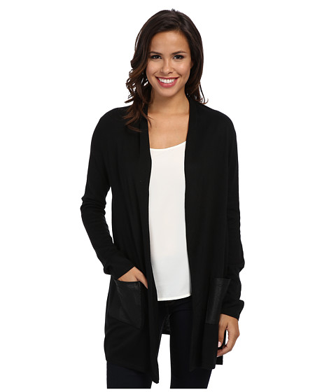 Karen Kane - Faux Leather Pocket Cardigan (Black/Black) Women's Sweater