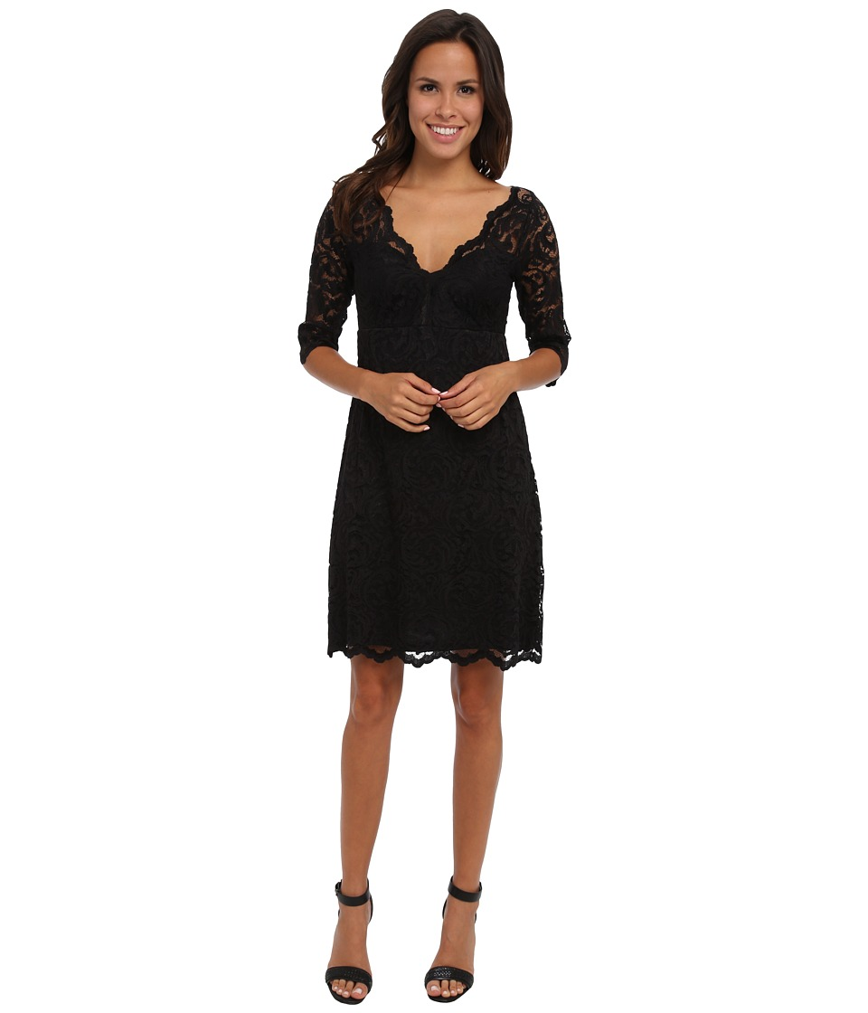 Karen Kane - Scallop Border Lace Dress (Black/Black) Women's Dress