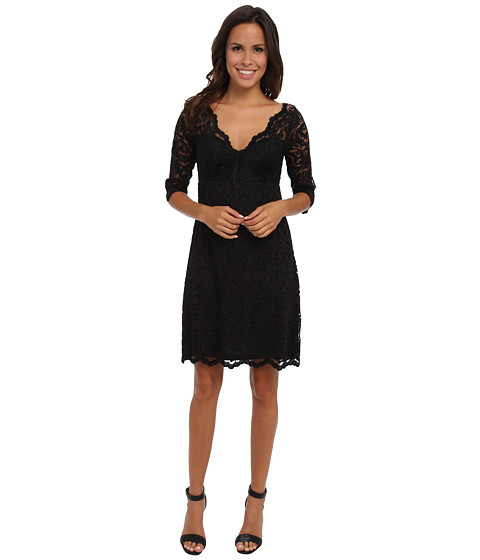 Karen Kane - Scallop Border Lace Dress (Black/Black) Women