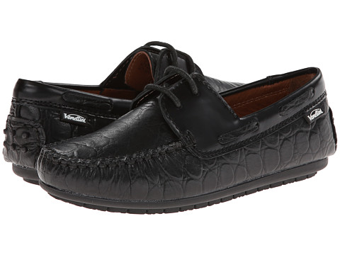 Venettini Kids - 55-Mason (Little Kid/Big Kid) (Black Rim Leather/Black Oil Leather) Boys Shoes