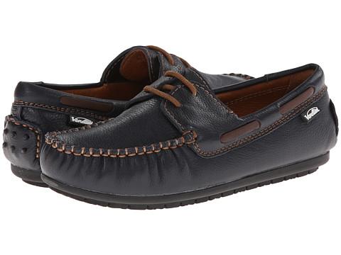 Venettini Kids - 55-Mason (Little Kid/Big Kid) (Navy Crinkled Leather/Dark Brown Leather) Boys Shoes