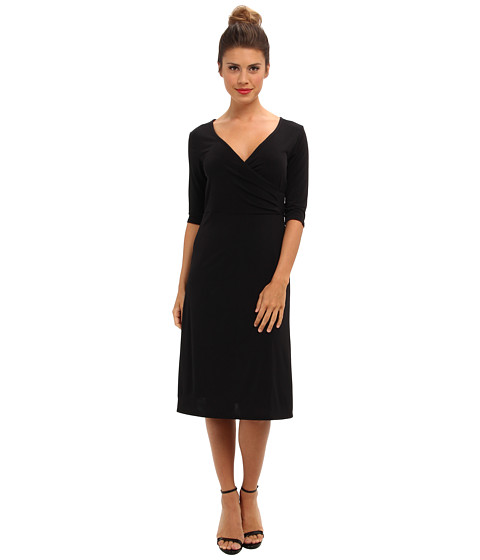 Christin Michaels - Tea Length 3/4 Sleeve Wrap Dress (Black) Women