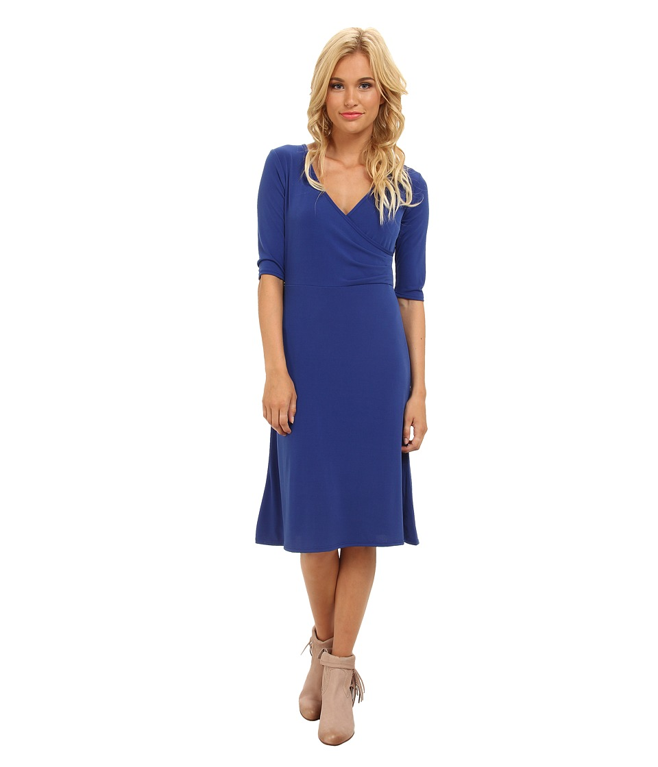 Christin Michaels - Tea Length 3/4 Sleeve Wrap Dress (Royal) Women's Dress