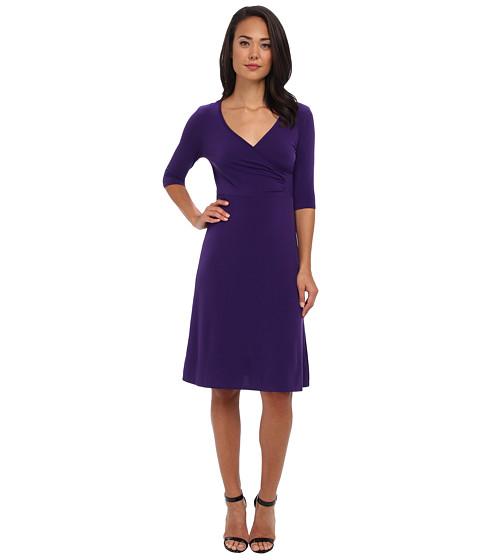 Christin Michaels - Tea Length 3/4 Sleeve Wrap Dress (Eggplant) Women's Dress